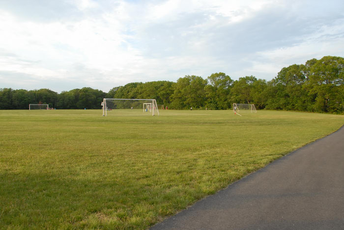 bike path, field, grass, soccer goal, trees