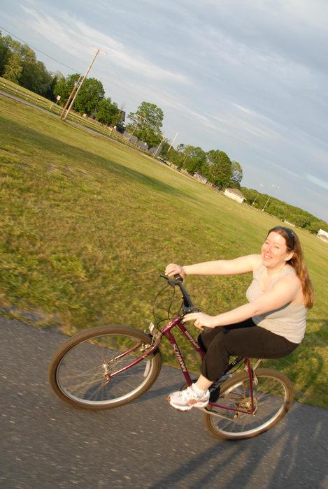 Jackie, bike path, field, grass, mountain bike, trees
