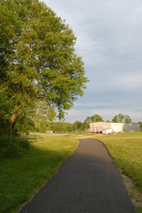 bike path, building, field, grass, trees