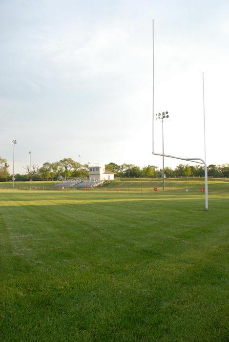 field, football uprights, grass