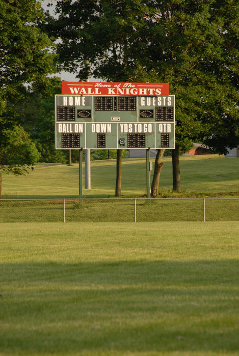 field, grass, scoreboard, sign, trees
