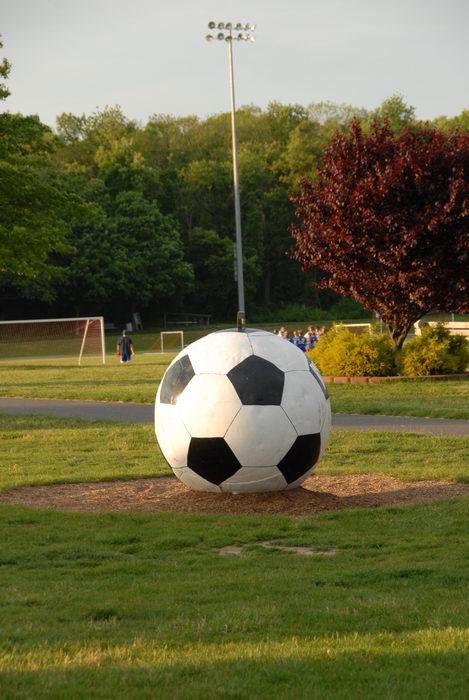 big soccer ball, bike path, field, grass, trees