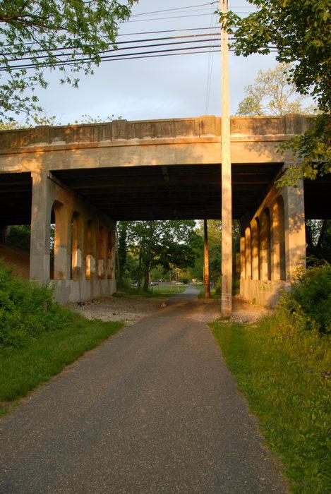 bike path, bridge, grass, trees