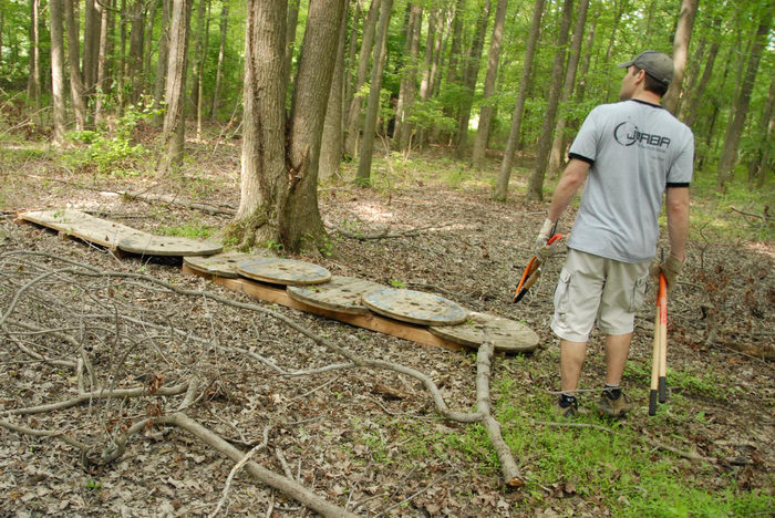 JORBA Tee Shirt, S.M.A.R.T., SMART, ground cover, path, trail maintenance, trees, wooden plank, woods