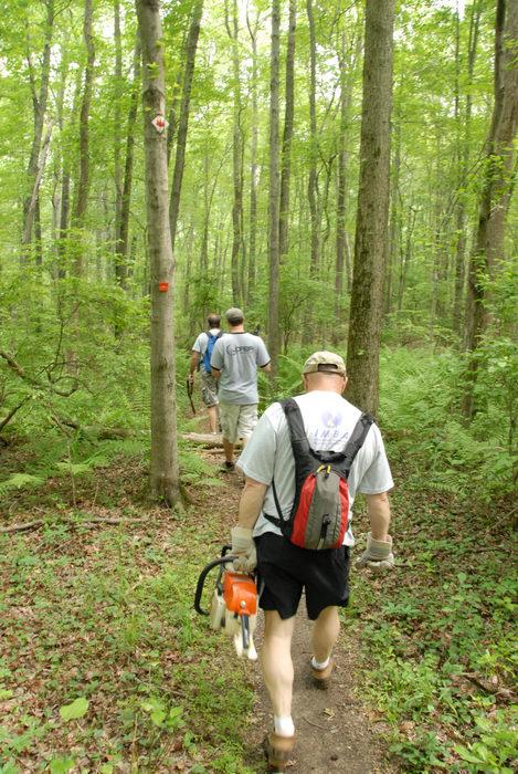 IMBA Tee Shirt, JORBA Tee Shirt, S.M.A.R.T., SMART, ground cover, path, tools, trail, trail maintenance, trail marker, trees, woods