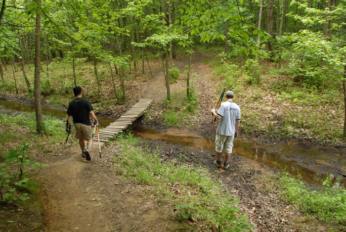 S.M.A.R.T., SMART, bridge, grass, ground cover, mud, path, stream, tools, trail, trail maintenance, trees, water, wooden bridge, woods