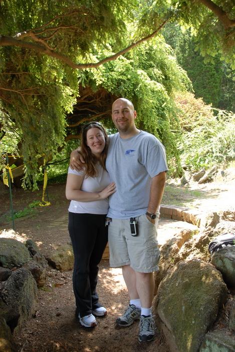 Jackie, Jeff, leaves, stairs, steps, trees, rocks