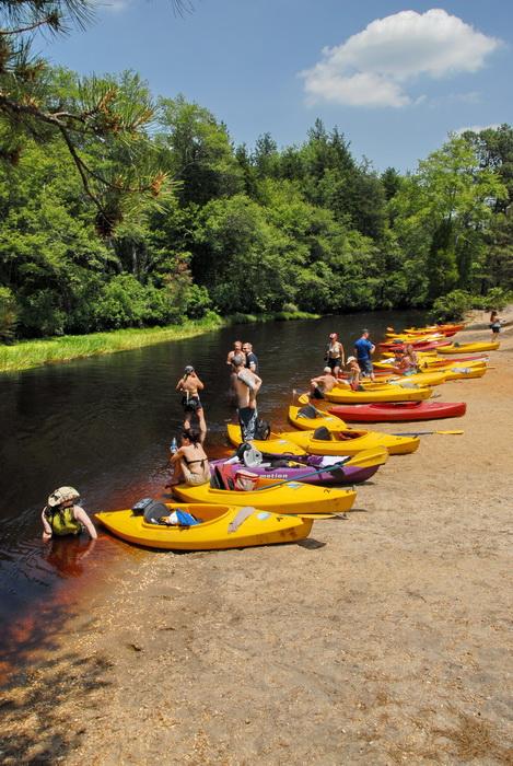 beach, blue sky, kayak, kayaking, paddling, river, trees, water, grass