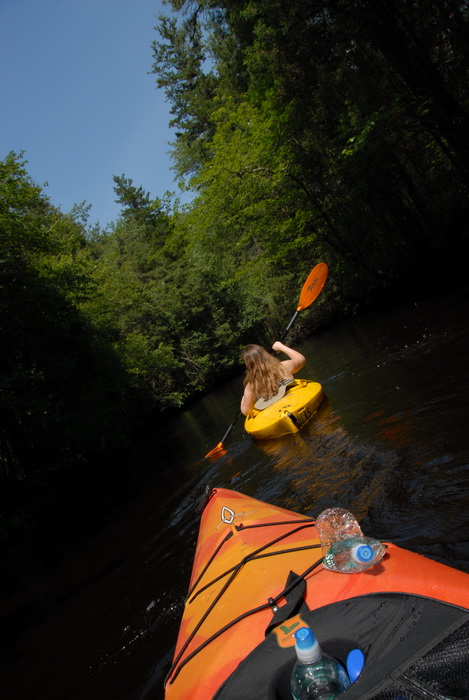 blue sky, kayak, kayaking, paddling, river, trees, water, Jackie
