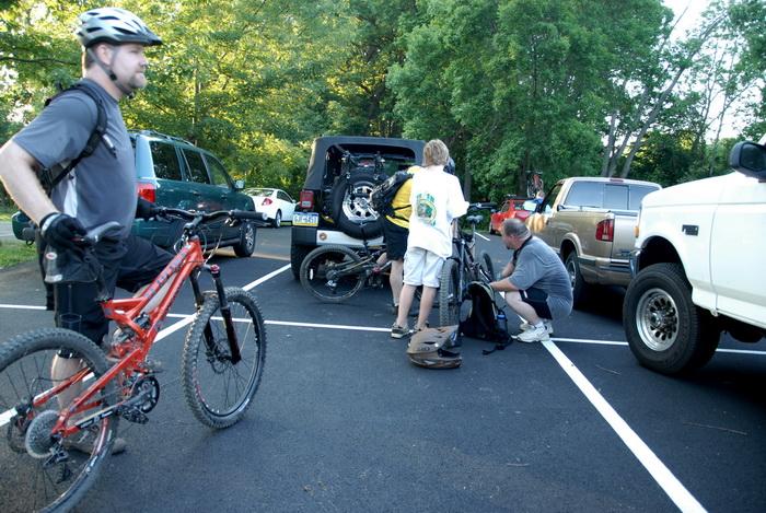 bike, mountain biking, parking, trees, woods