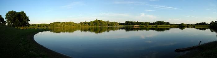 lake, panoramic, pond, trees, water, grass
