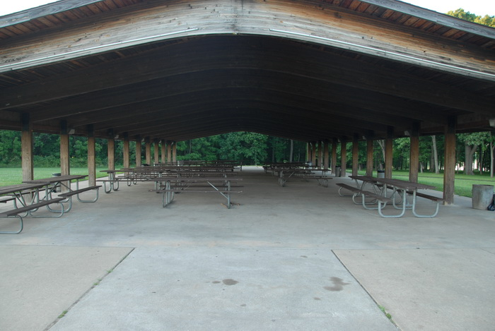 picnic tables, covered picnic area