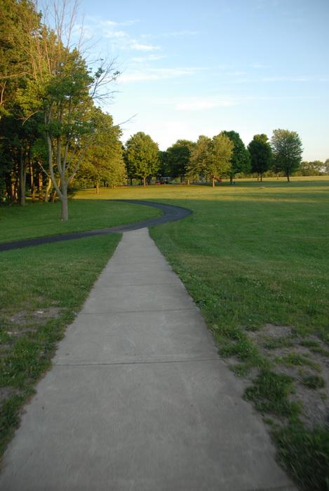 grass, trees, paved path
