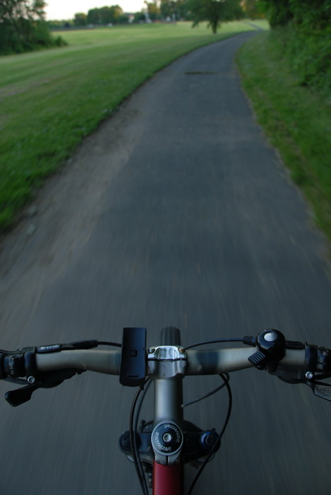 bike, grass, mountain biking, paved path, my bike