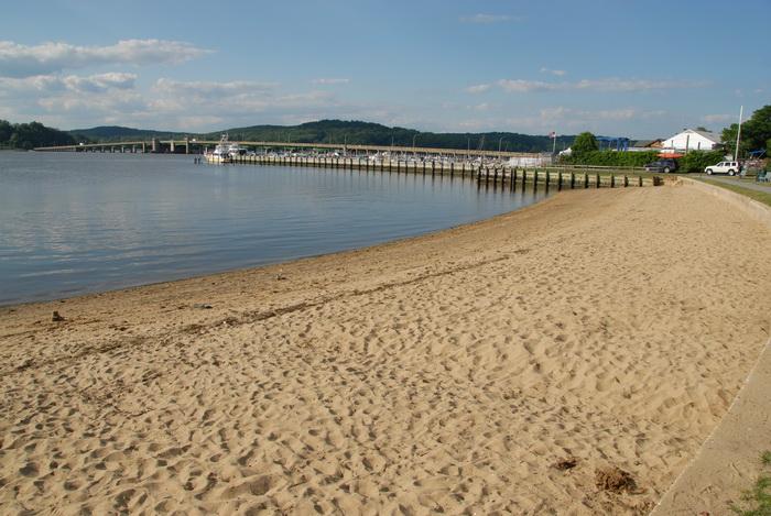beach, blue sky, bridge, grass, sand, water, My XTerra