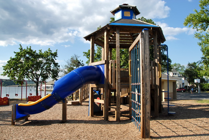 playground, play area, slide, wooden, trees, blue sky