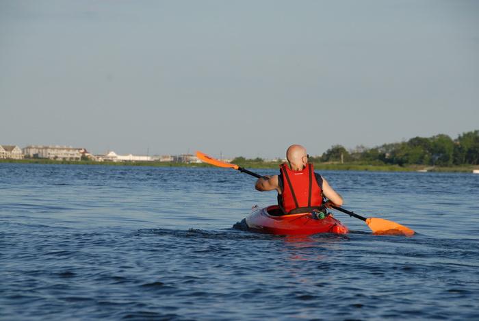 Scott, blue sky, kayak, kayaking, paddling, river, water