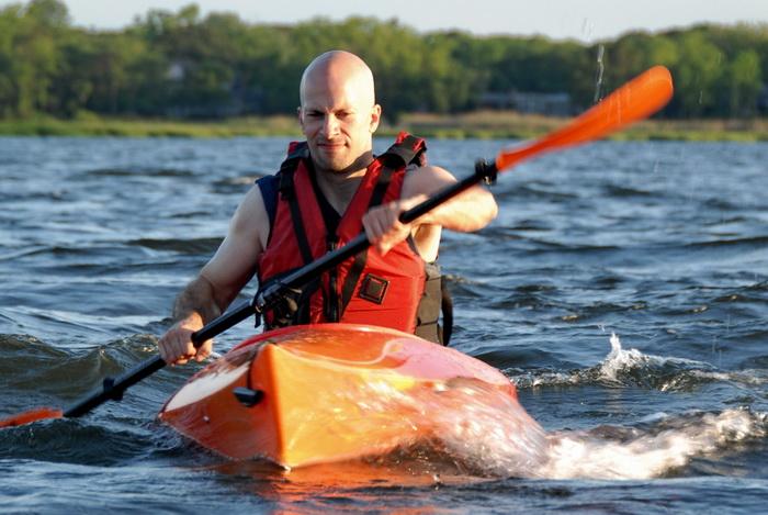 Scott, blue sky, kayak, kayaking, paddling, river, water, waves