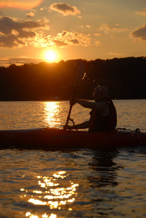 Scott, kayak, kayaking, paddling, river, sunset, water