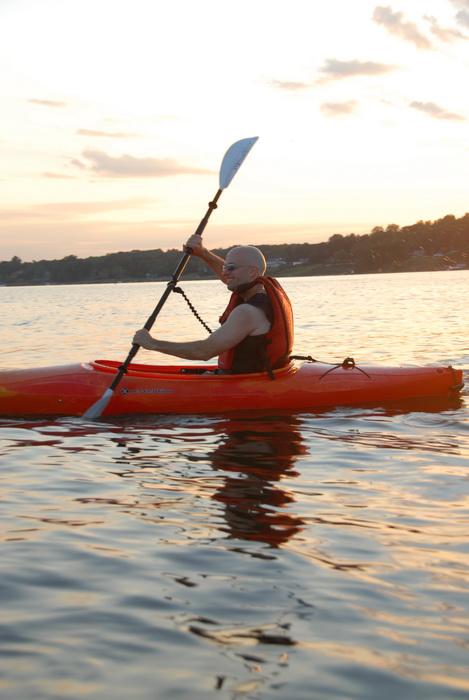 Scott, kayak, kayaking, paddling, river, sunset, water