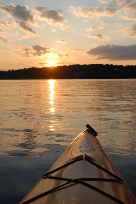 kayak, river, sunset, water