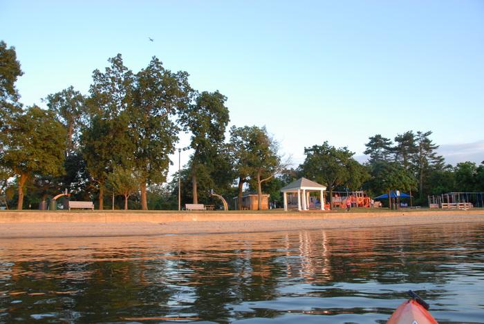 beach, water, trees, gazebo, playground