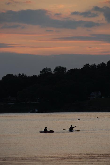 kayak, kayaking, paddling, river, sunset, water