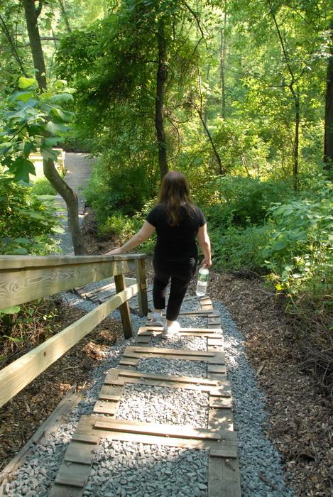 Jackie, railing, stairs, steps, trees, woods