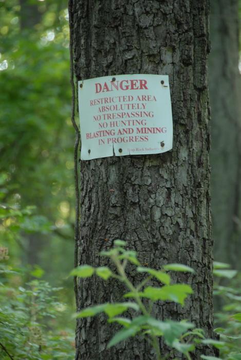 tree, sign, blasting in progress, warning sign