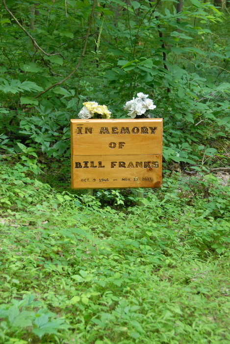ground cover, in memory of Bill Franks, memorial, sign