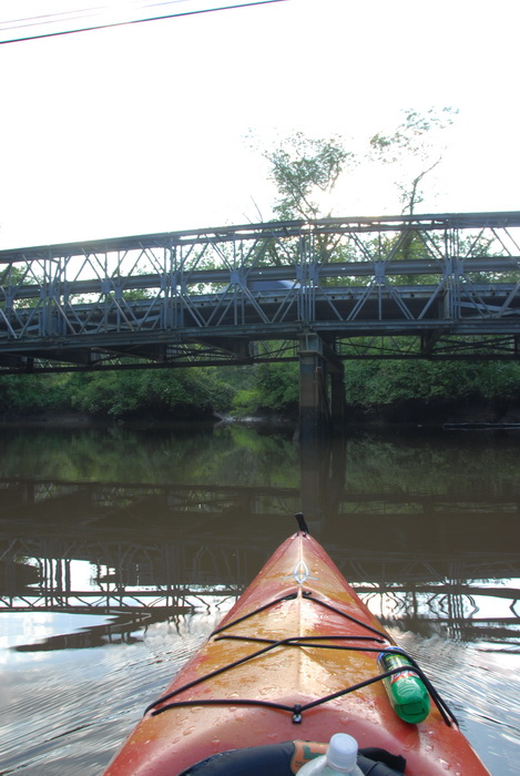 kayak, river, water, bridge