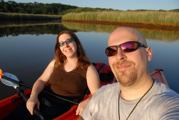 Jackie, Jeff, kayaks, sunglasses, water, river