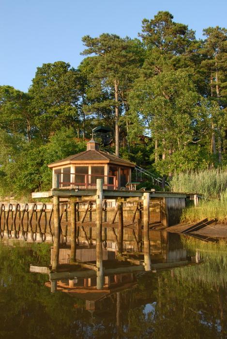 bulkhead, gazebo, river, trees, water, dock