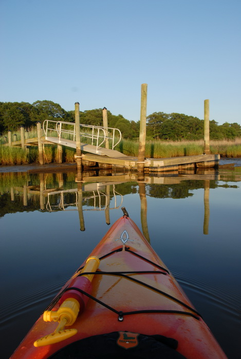 dock, river, water, kayak