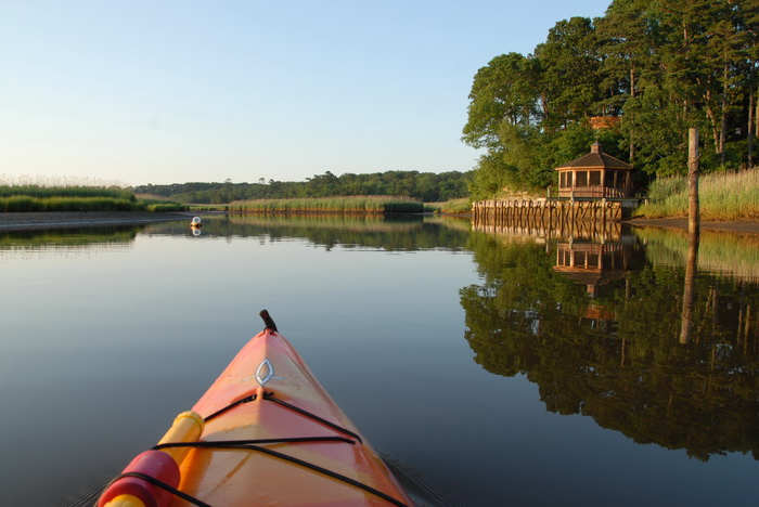 bulkhead, dock, gazebo, kayak, river, trees, water, reflection