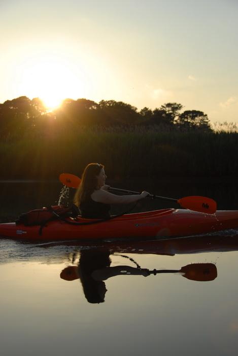 Jackie, river, water, sunset, paddling, kayaking