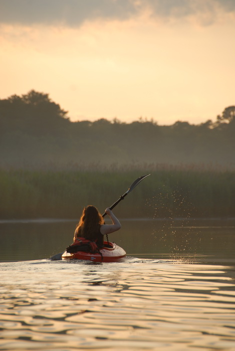 Jackie, kayaking, paddling, river, sunset, water