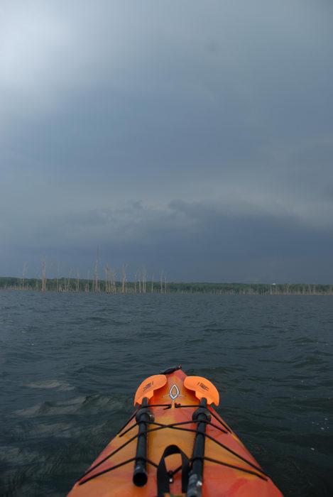 Dagger Blackwater 11.5, dead trees, kayak, kayaking, lake, paddling, reservoir, storm clouds, water
