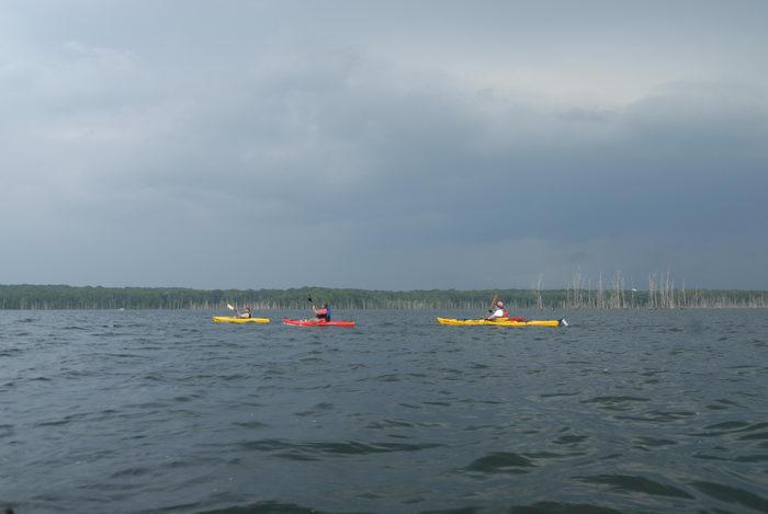 JSSKA, dead trees, kayak, kayaking, lake, paddling, people, reservoir, storm clouds, water