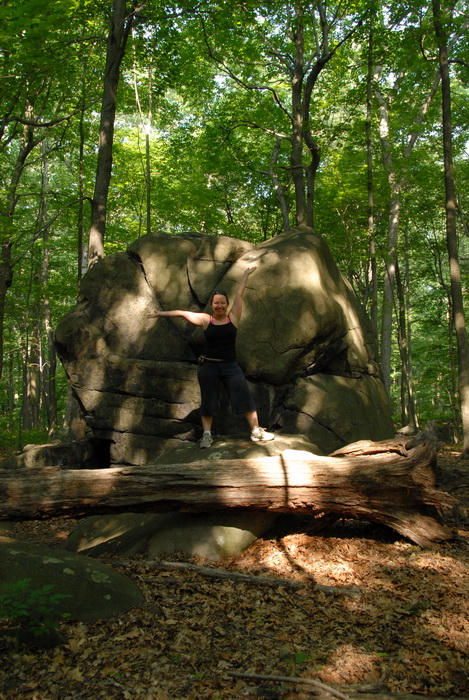 Danielle, boulder, Tent Rock, glacial erratic, log, trees, woods