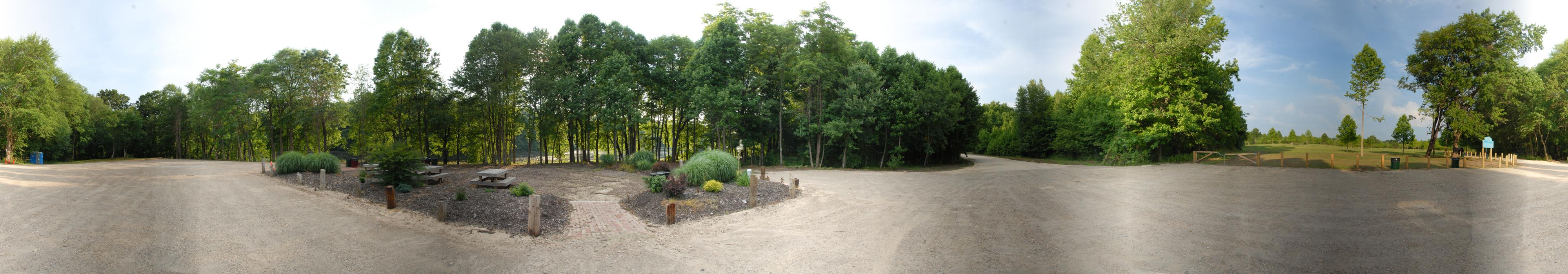 panoramic, parking lot, trees, woods, picnic benches, garden