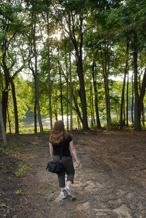 Jackie, path, trees, water, woods