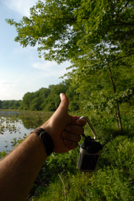 Garmin Colorado 400t, Millhurst Mills Lake, Thumbs across America, lake, pond, trees, water