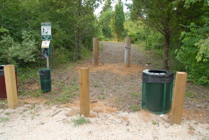 posts, path, wood chips, garbage cans, trees