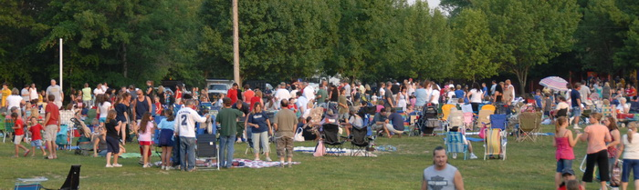 festival, grass, people, trees