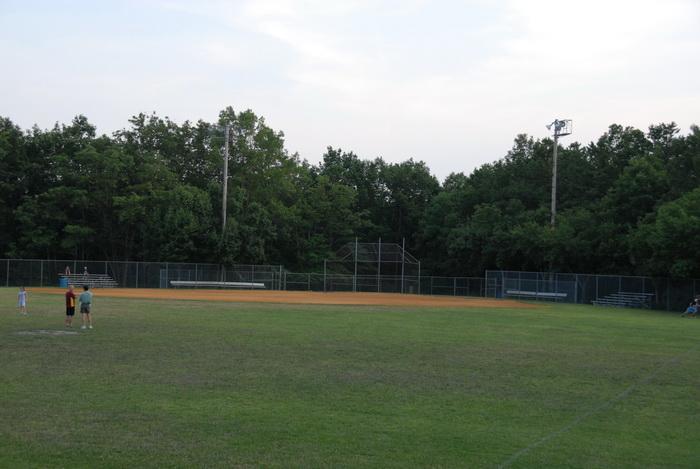 baseball diamond, baseball field, grass, trees