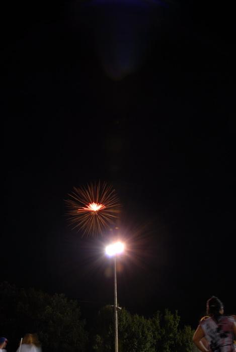 fireworks, nighttime, flood light