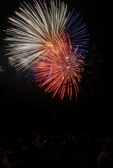 fireworks, nighttime