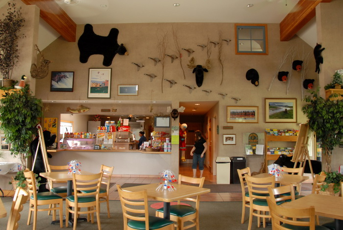 bear, ceiling, chairs, room, snack bar, tables, windows, Jackie
