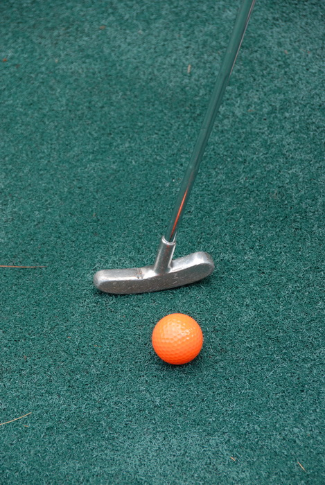 minigolf, golf ball, golf green, golf club